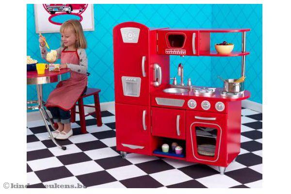 Keuken Wasbak Met Kraan : Kidkraft Rode vintage keuken Kinderkeukens.be